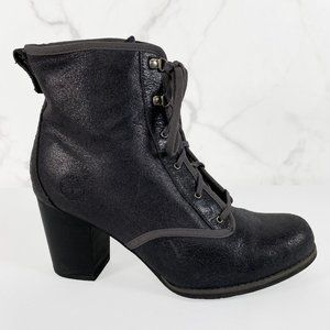 Timberland Leather Lace Up Stacked Heel Bootie